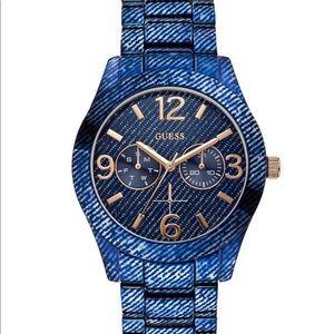 Guess Blue Denim Hi-Shine Sports Watch